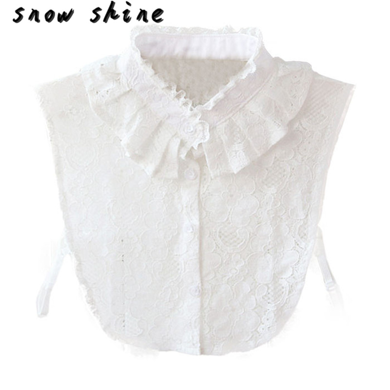 snowshine YLI Women Lace Stand Collar Vintage Fake Shirt Collar Necklace Choker Collar White free shipping