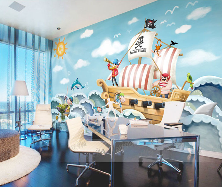 Popular pirate wall mural buy cheap pirate wall mural lots for Cartoon mural wallpaper