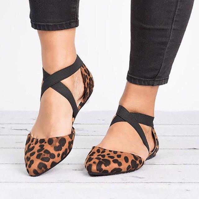 Frauen flache schuhe Leopard print Mode Spitz Flache Beiläufige flache Einzelnen Schuhe zapatos de tacon plataforma #3