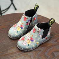 AFDSWG primavera e outono martin botas crianças botas de couro artificial preto cinza crianças martin botas, botas de meninas botas de princesa