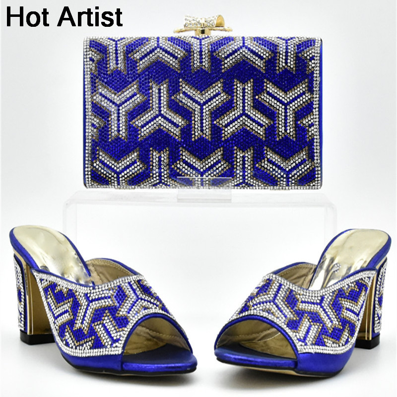 Hot Artist 2018 Hot Selling Woman Blue Color Shoes And Bag Set New African Style High Heels Shoes And Bag Set For Wedding YF-20
