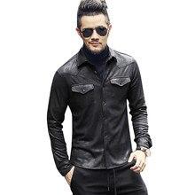 leather Jacket Shirts Men Plus velvet camisa social masculina Brand warm  Slim Fit men black shirt long sleeve Autumn New c9aa6e7c4ca8