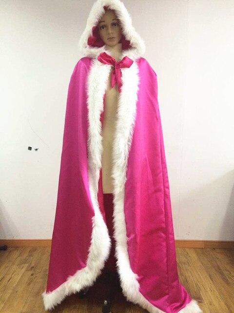 Winter Hooded Bridal Cape White Fur Coat Wedding Shawl Plus Size