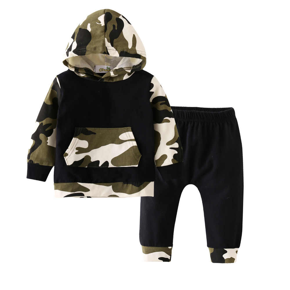 37973317bf932 ... 2019 New Fashion Baby Boy Girl Clothes Long Sleeve Camouflage Hoodie  Tops+Pants Newborn 2Pcs ...
