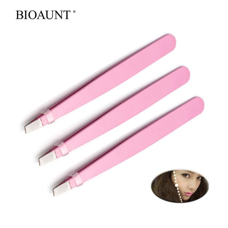 Bioaunt 1pc pinça de sobrancelha feminina de aço inoxidável olho sobrancelha pinça cílios modelador remoções de cabelo nasal ferramentas de maquiagem qualidade superior