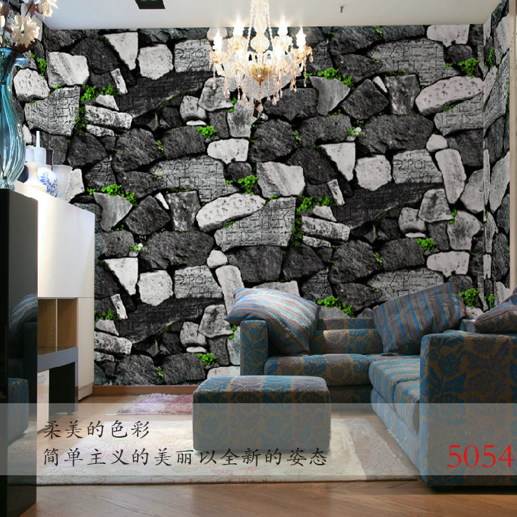 natural pvc d papel pintado decorativo de la pared para la barra de piedra retro textura