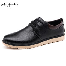 WHOHOLL Fashion Men Casual Shoes New Spring Men Flats Lace-up Male Suede Oxfords Men Leather Shoes Zapatillas Hombre forudesigns fashion denim animals brand design men s casual leather shoes breathable lace up flats lesisure male oxfords shoes