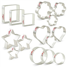 KENIAO Basic Stars, Hearts, Circles(Rounds), Flowers(Scalloped Edge) & Squares Cookie Cutters Set - 15 Pieces Stainless Steel