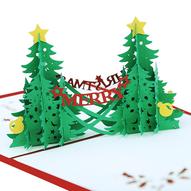 3d Origami Christmas Tree Today I Want To Share 3d: Christmas Origami Laser Paper Cutting Greeting Card 3D Pop