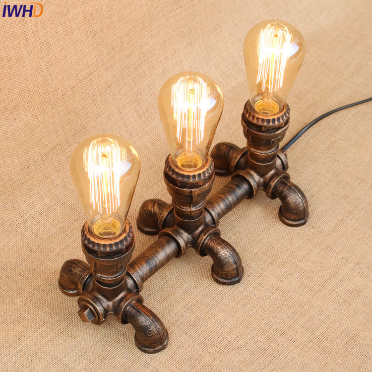 IWHD Water Pipe Table Lamps For Living Room Bedroom Creative Loft Industrial Table Lamp Vintage Decorative Lampade De Tavolo