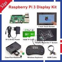52Pi Raspberry Pi 3 Starter Kit с 7 ''сенсорный экран + акриловое крепление + охлаждающая плита + 16 ГБ SD карта + чехол + вентилятор В + 5 В 2.5A США/ЕС/Великобритан