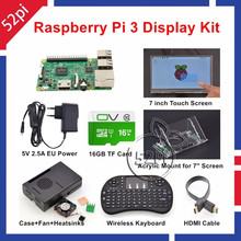 52Pi Raspberry Pi 3 Starter Kit with 7» Touch Screen+Acrylic Mount+Heat Sinks+16GB SD Card+Case+Fan+5V 2.5A US/EU/UK/AU Power