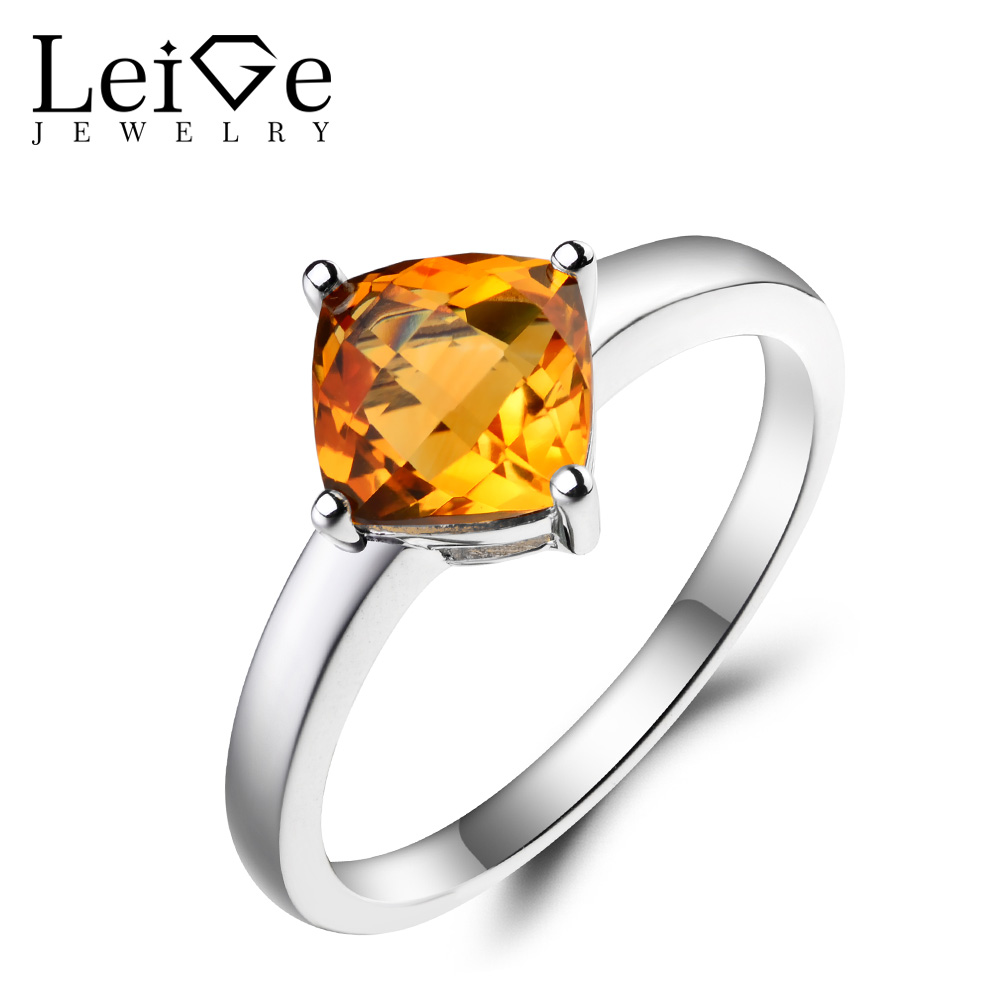 Leige Jewelry Natural Citrine Ring Engagement Ring Cushion Cut Yellow Gemstone 925 Sterling Silver Anniversary Gifts for Women