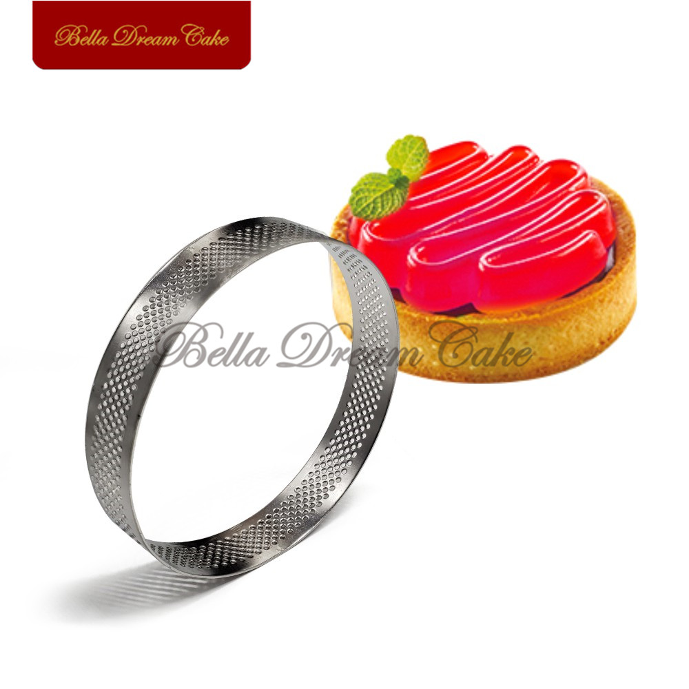 1PC Round Tart Ring Stainless Steel Perforated Cake Mousse Circle French Dessert Cake Mousse Mould Cake Decorating Tool Bakeware in Cake Molds from Home Garden