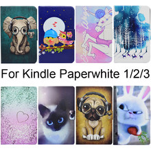 Anti Knock Silikon Penutup untuk Amazon Kindle Paperwhite 2 3 Tas Kertas Putih 1/2/3 Case Gajah anjing Kucing Kelinci Kuda Owl Printing(China)
