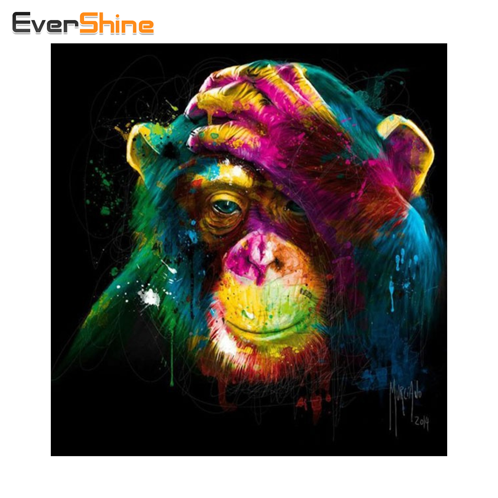 EverShine Diamond Embroidery Monkey Full Kit 5D DIY Diamond Painting Cross Stitch Full Square Rhinestones Mosaic Sale