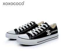 KPOP EXO Canvas Shoes Black Lace Up Flat Heel Shoes Unisex Womens New 2017 Luminious All Members Printed Free Shipping