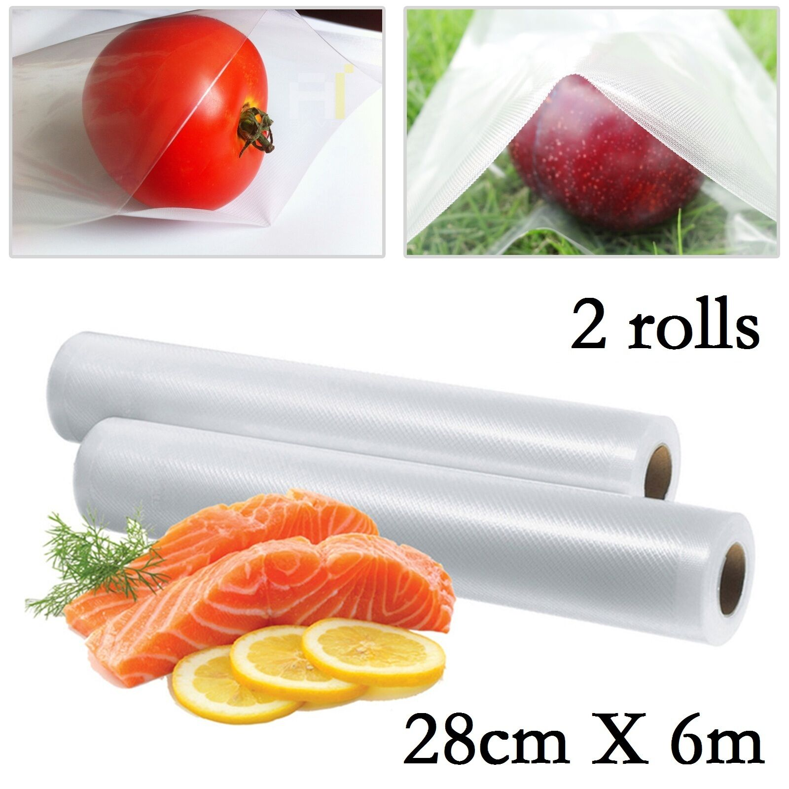 2 Rolls 28CM X 12M Cheapest Tetured Vacuum Sous Vide Food Sealer Storage Bags2 Rolls 28CM X 12M Cheapest Tetured Vacuum Sous Vide Food Sealer Storage Bags