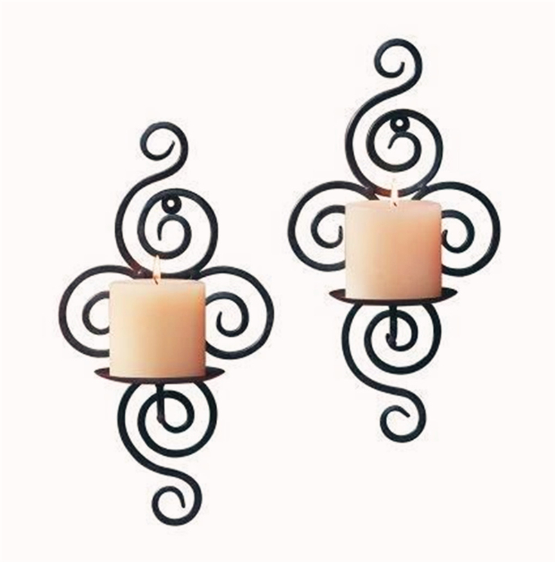 New Design Home Candlestick Holders Handmade Iron Hanging Wall Sconce Candle Holder Shelf Furnishing Articles Decoration Durable