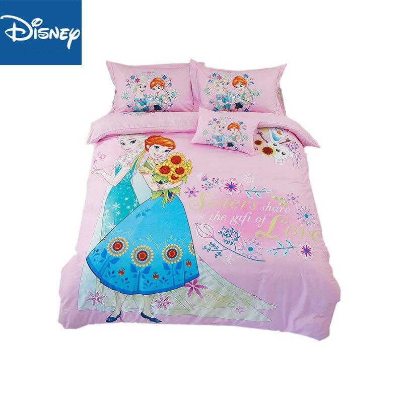 Ensemble de literie Disney frozen pour filles décor de chambre taille unique couette couvre reine couvre-lits double drap plat 3-5 pièces coton