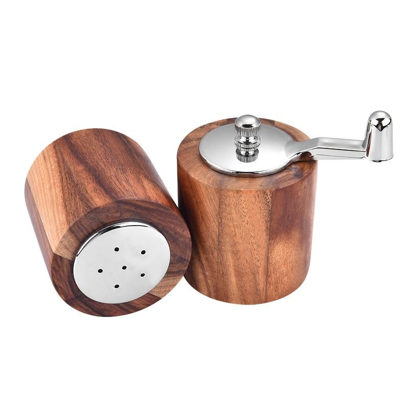 Мельница для соли и перца из акации, 2 шт., набор кухонных мельниц для перца и один шейкер для соли с деревянным корпусом Регулируемая дробилка|Мельницы|   | АлиЭкспресс - Для кухни