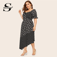 Sheinside Plus Size Casual Polka Dot Print Dress Women 2019 Summer Flounce Sleeve Dresses Ladies Floral Print Asymmetrical Dress