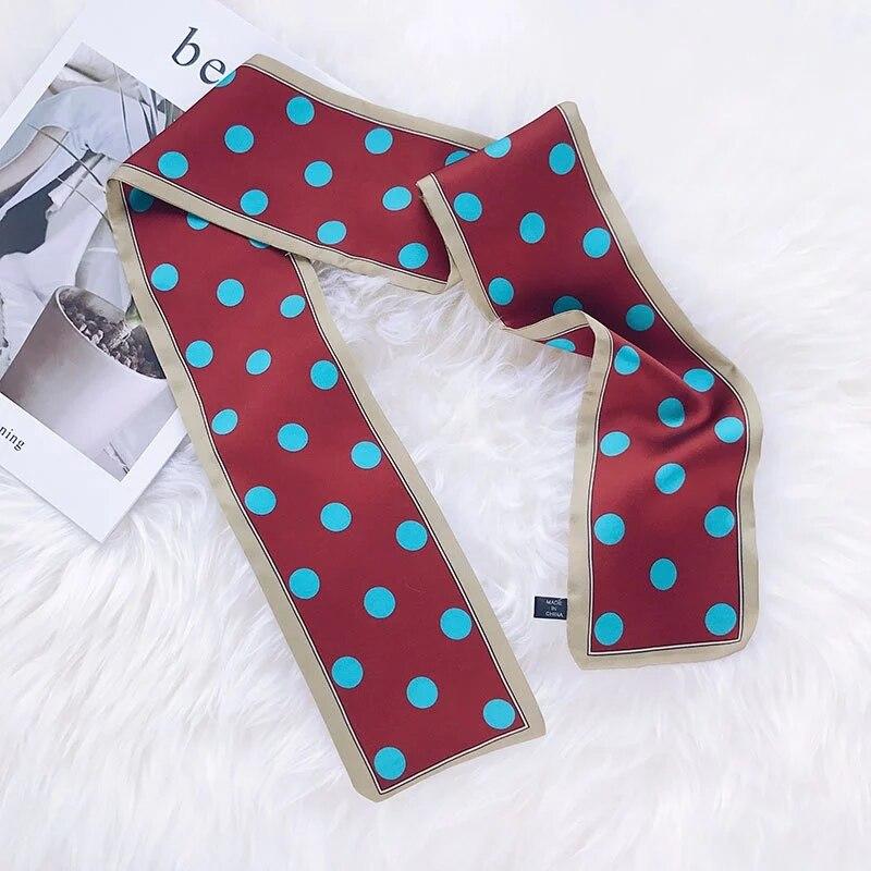 LEAYH Brand Cute Double-sided Dot Printed Faux Silk Skinny Scarf Tie Bag Ribbons Head Scarves Women Fashion Hairband 95*10cm
