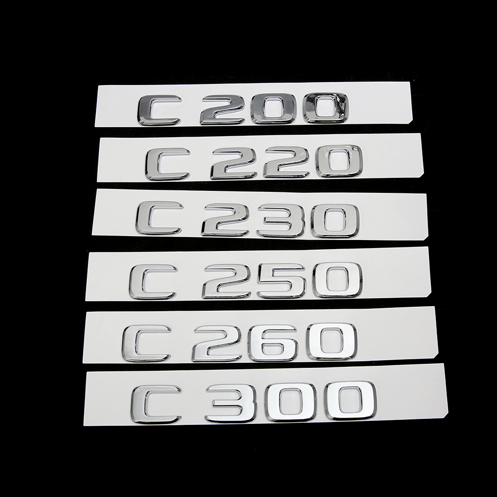 2018 Flat C230 Chrome Letters Trunk Emblem Badge Sticker for Mercedes Benz C230