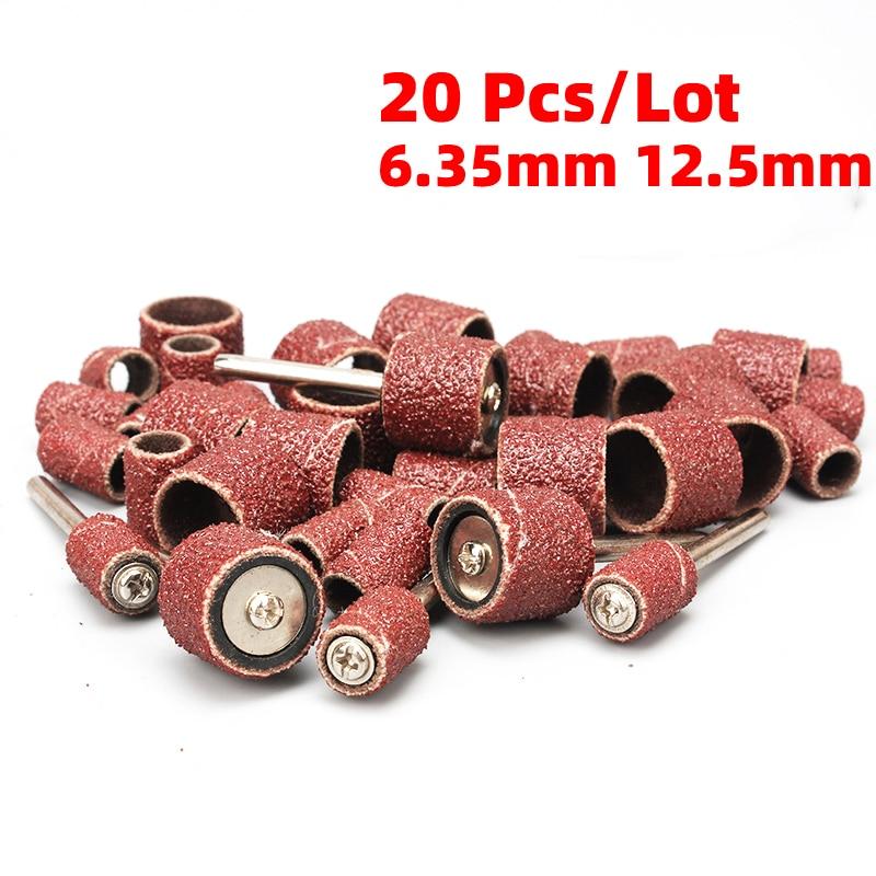 20Pcs/Lot Dremel Grit Sanding Bands Sander Drum Mandrel Rotary Tool Nail Drill Bits Electrical Tools Kit Abrasive Sandpaper
