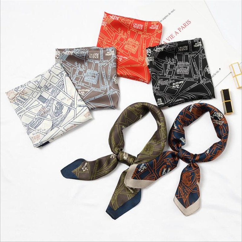 New Silk   Scarf   70*70 New Fashion Romantic Tower Map Prints Women Shawl Satin Small Squares Head Bag Decorative   Scarves     Wraps   Tie