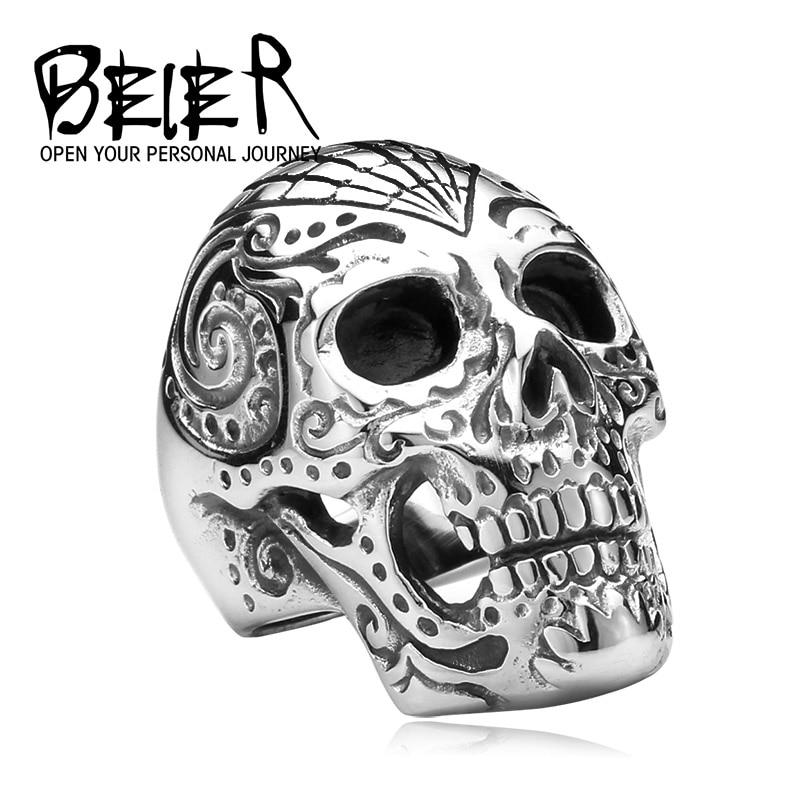 Байер новый магазин 316L Нержавеющаясталь цветник эксклюзивный Для мужчин череп кольцо Личность Модные украшения BR8-150