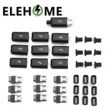 5pcs DIY Micro USB Connector Male Plug Connectors Kit w/ Covers Black XF30 diy soldering usb female connectors black 10 pcs