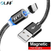 Olaf Magnetic Cable Nylon Braided Micro USB Magnet Cable For Huawei Data Charger Cable for