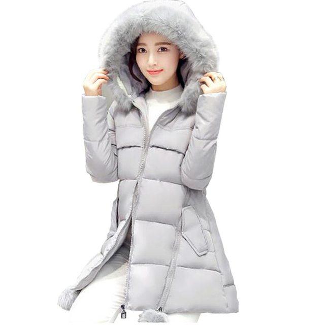 Женщины вниз хлопка-ватник 2016 зима теплая ватные куртки женщин долго назад звезда шаблон с капюшоном из искусственного меха воротник парки kp0722