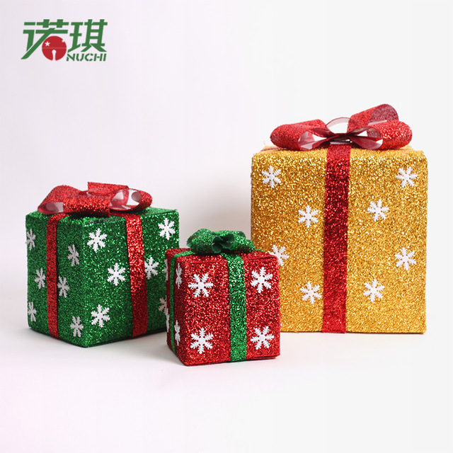 decorative christmas gift boxes plastic beautifully folded colorful christmas gift box luminous xmas decoration box - Decorative Christmas Gift Boxes With Lids