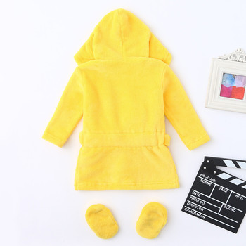 Newborn Baby Layette Boys Girls Baby Pajamas Cartoon Yellow Duck Style Flannel Bathrobes Hoodie Sleepwear Footwear Outfits 2Pcs 1