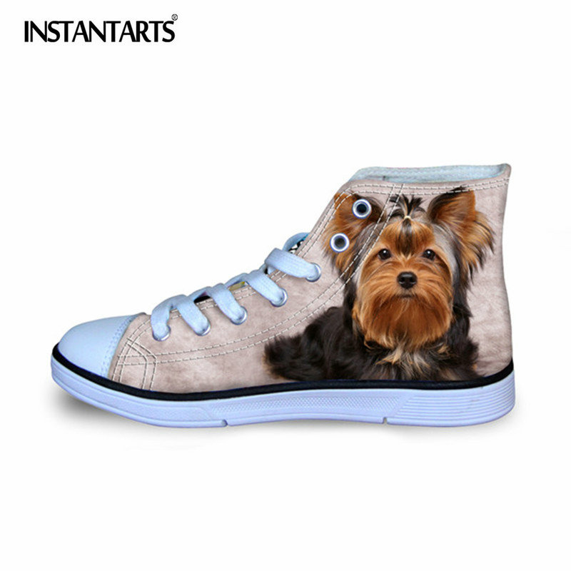 INSTANTARTS Yorkshire Terrier Pattern Kids Canvas Shoes Flat Shoes Comfort Lacing Flats Girls Boys Fashion Children Sneaker