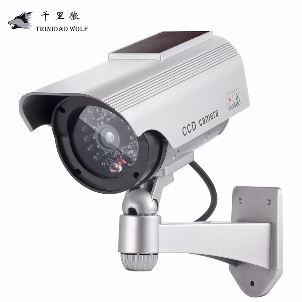 TRINIDAD WOLF Solar Fake Camera Security Powered Flicker Blink LED Indoor Surveillance Outdoor Bullet Dummy Security Camera