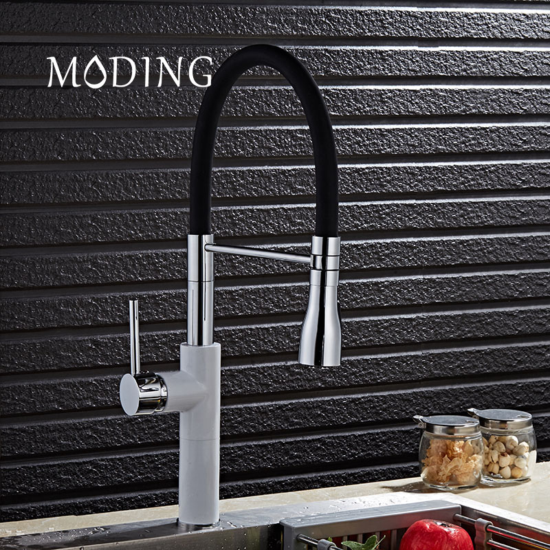MODING Luxury Spring Kitchen Faucet Brushed Nickel Kitchen Water Faucet Brass Made Spray Shower Head Kitchen