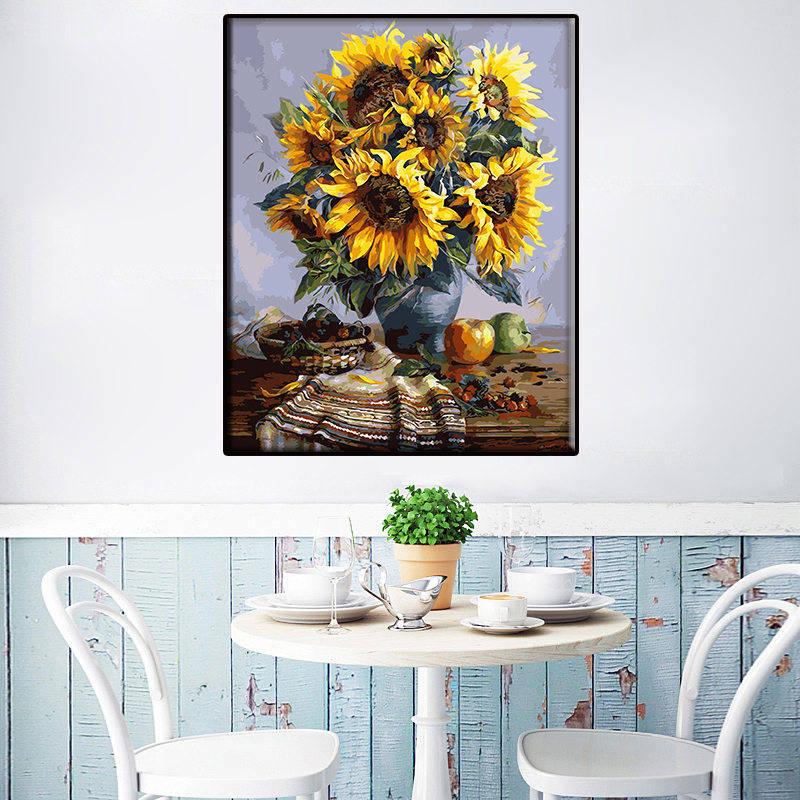 Y8 Sunflower DIY Oil Painting By Numbers With Paint U0026 Brush Nordic Wall  Picture Poster For Home Decor Creative Gift No Frame In Painting U0026  Calligraphy From ...
