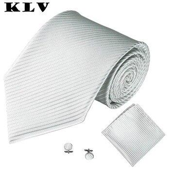 KLV 2017 wedding Black Red Coffee 3PCS Classic Jacquard Men Party Tie Pocket Square Handkerchief Cuff Link men silk tie sets