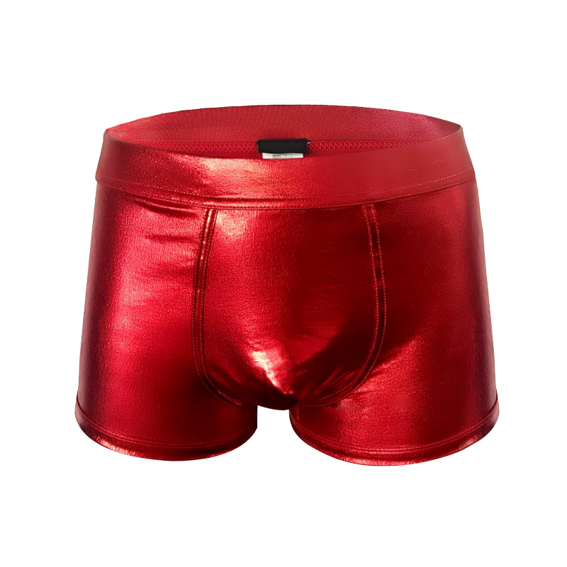 Indefini Mans Underswear Christmas Party Luxer Boxer Or Sexy Thong In Shiny Red -2475