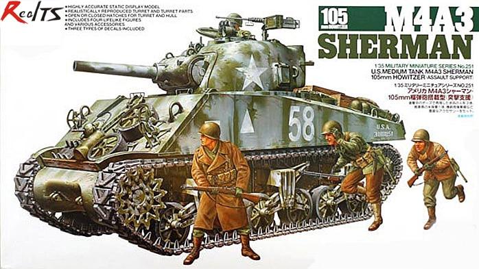 RealTS Tamiya 1/35 35251 M4A3 Sherman 105mm Howitzer Plastic Model Kit цена