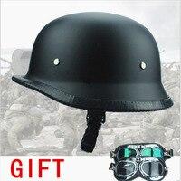 FREE SHIPPING WWII Style BLACK German Motorcycle Half Helmet Chopper Biker Pilot Goggles NEW