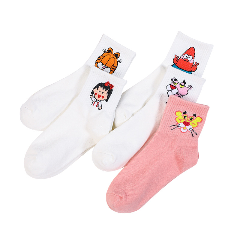 Summer Solid Thin Short Fashion Cartoon Character Cute Socks Funny Animal Patterned Women Set