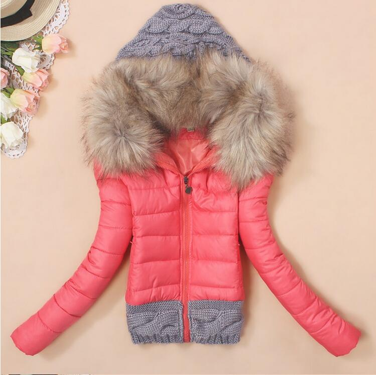 2017 Women Winter Coat Cotton Padded Jacket Short Knitted Hood Fur Collar Womens Winter Jackets and Coats