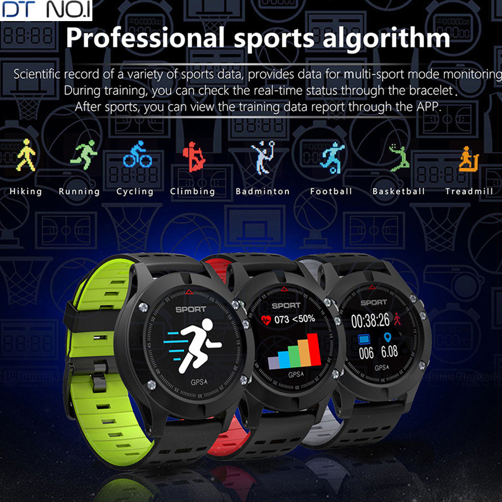 DT <font><b>NO.1</b></font> <font><b>F5</b></font> <font><b>Smart</b></font> <font><b>Watch</b></font> GPS BT Heart Rate Monitor Altimeter Barometer Thermometer Wristband Supports Siri for Android iOS 9.0 image