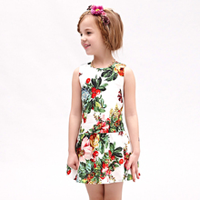 2017 Baby Girl Bow Dress Party Summer Style Dresses Casual Sleeveless Flowers Embroidery Children Brand Kids Clothes