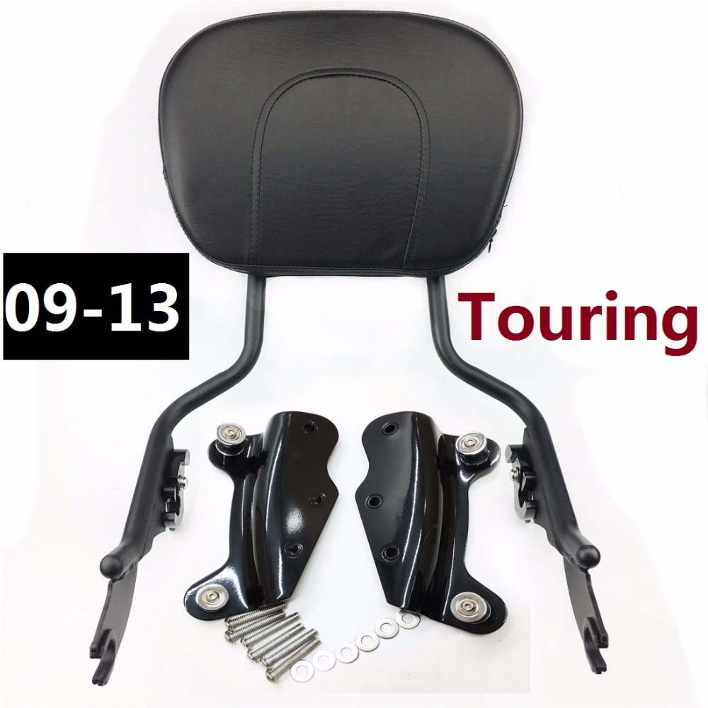 Sissybar Backrest W/ Pad 4 Point Docking Kit For Harley Touring Road King FLHR Street Glide CVO Electra 2009-2013 motorcycle chrome luggage rack for harley touring road king street glide cvo road glide street electra glide flhr 2009 2017 16