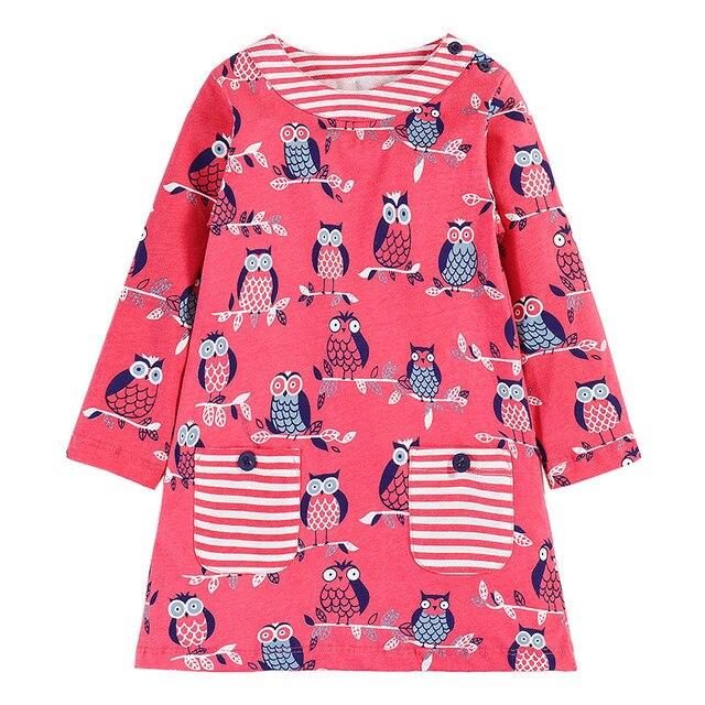 От 2 до 7 лет девочек Совы милые платья принцессы с длинным рукавом 2017 Марка Платье для маленьких девочек на весну и осень с карманом детская туника из Джерси